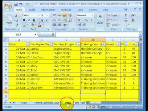 employee training matrix template excel