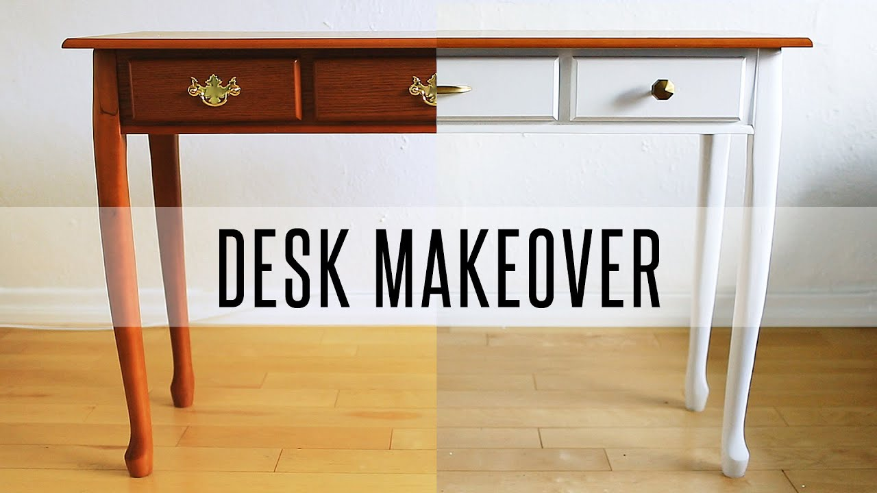 painting wood furniture whiteDIY DESK MAKEOVER  HOW TO PAINT FURNITURE  YouTube