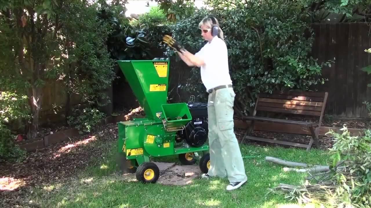 Garden Chipper Mulcher Shredder In Backyard - YouTube