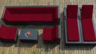 [BEST PRICE] Genuine Ohana Outdoor Sectional Sofa and Chaise Lounge Set (9 Pc Set)