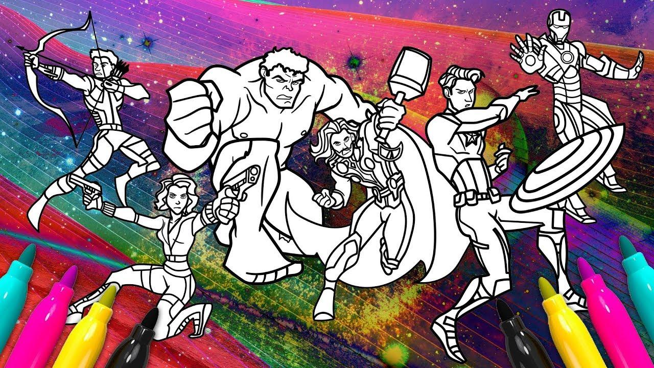 Original Avengers Line Up Coloring SET   Superheroes Coloring Book