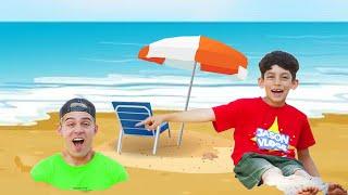 Jason pretend play on beach with toys story