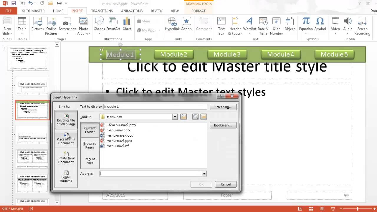 create a menu navigation bar in powerpoint youtube