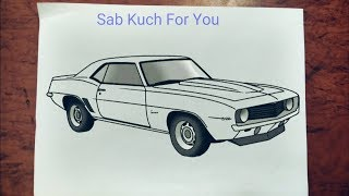19# How to Draw Muscle car  1969 Chevrolet Camaro Z/28  Step by step easily 😊