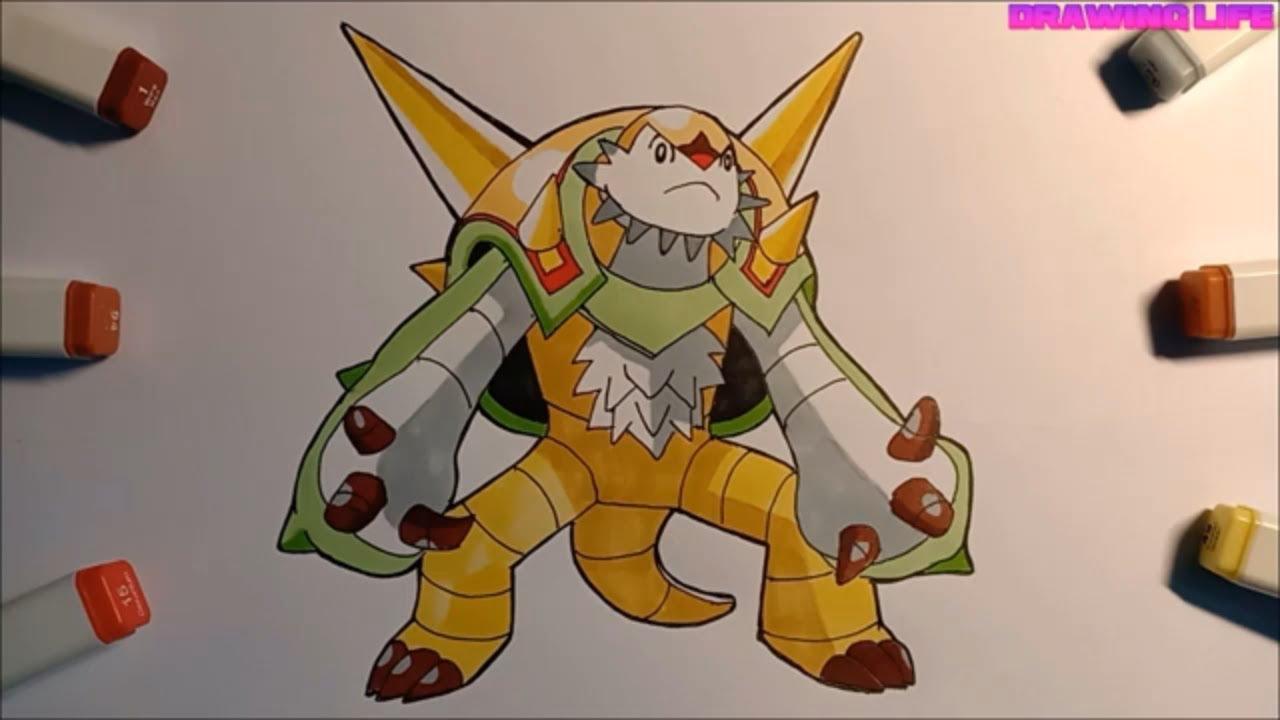 cách vẽ Brigaron pokemon quái vật hệ cỏ-giác đấu toàn năng