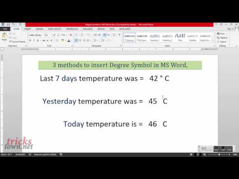 Degree Symbol – Degree in Microsoft Word
