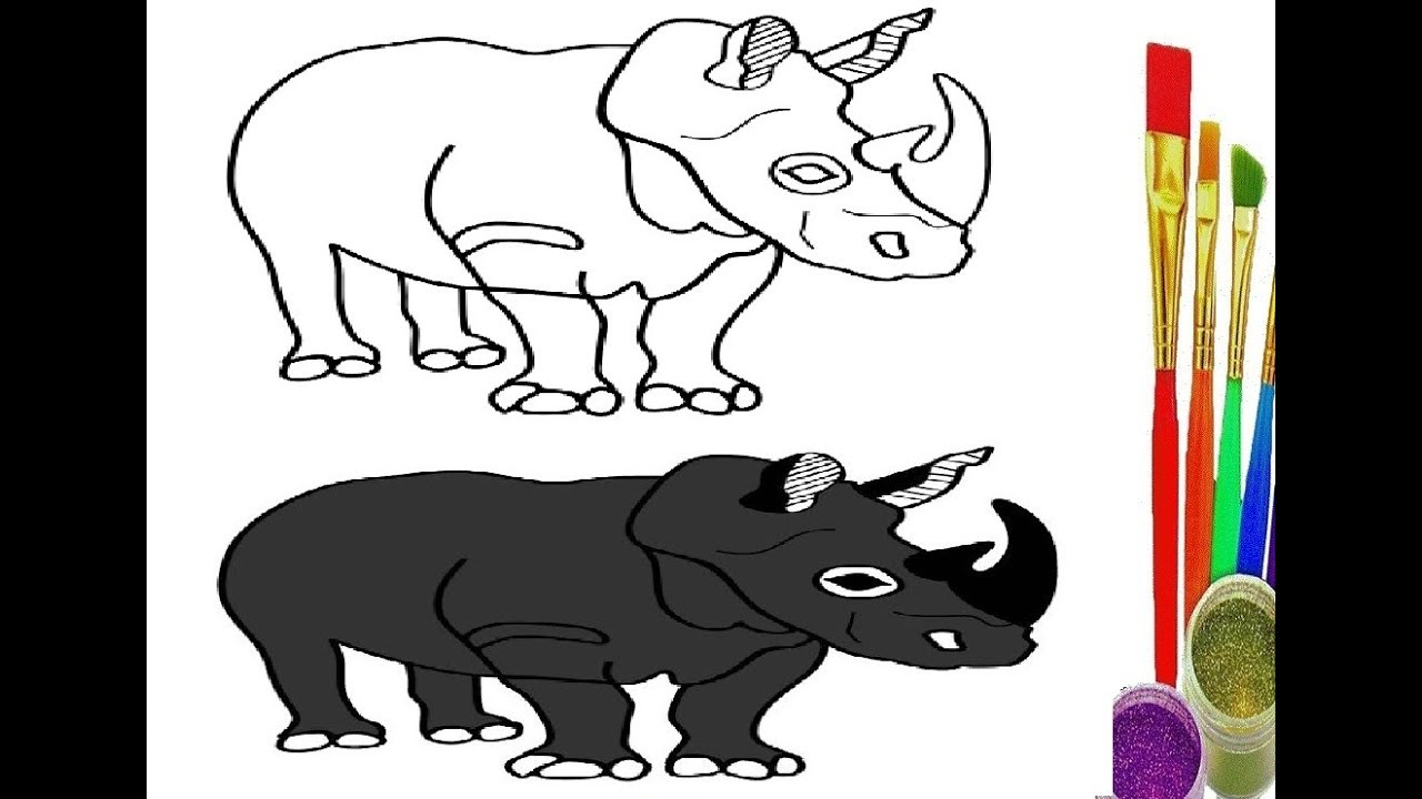 Rhino Coloring Page - Art Starts for Kids | 720x1280