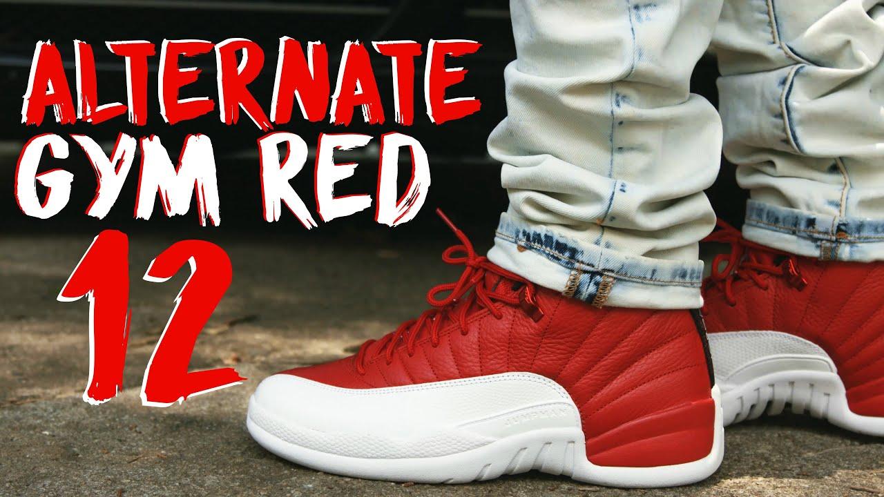 jordan 12 gym red 218 on feet