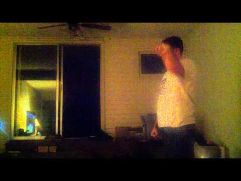 Evan's happy dance. Kinnect bowling