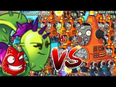 Plants vs Zombies 2 Epic Hack : Strawburst Lobbers vs Robo-Cone Zombies