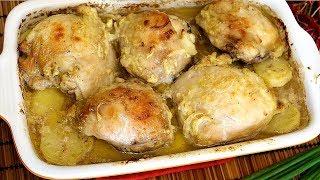 Куриные бедрышки в кефире с картошкой запеченные в духовке