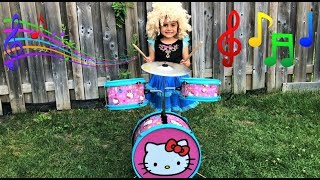 Sally Pretend Play with DRUMS Music Toy & Sings Children Songs for Kids