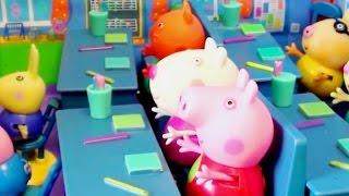 Мультфильм игрушками Свинка Пеппа Свинка Pig Корзина для игрушек, Пикник, Делаем прививку