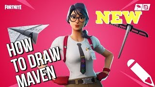 How To Draw The NEW MAVEN SKIN From Fortnite Battle Royale!