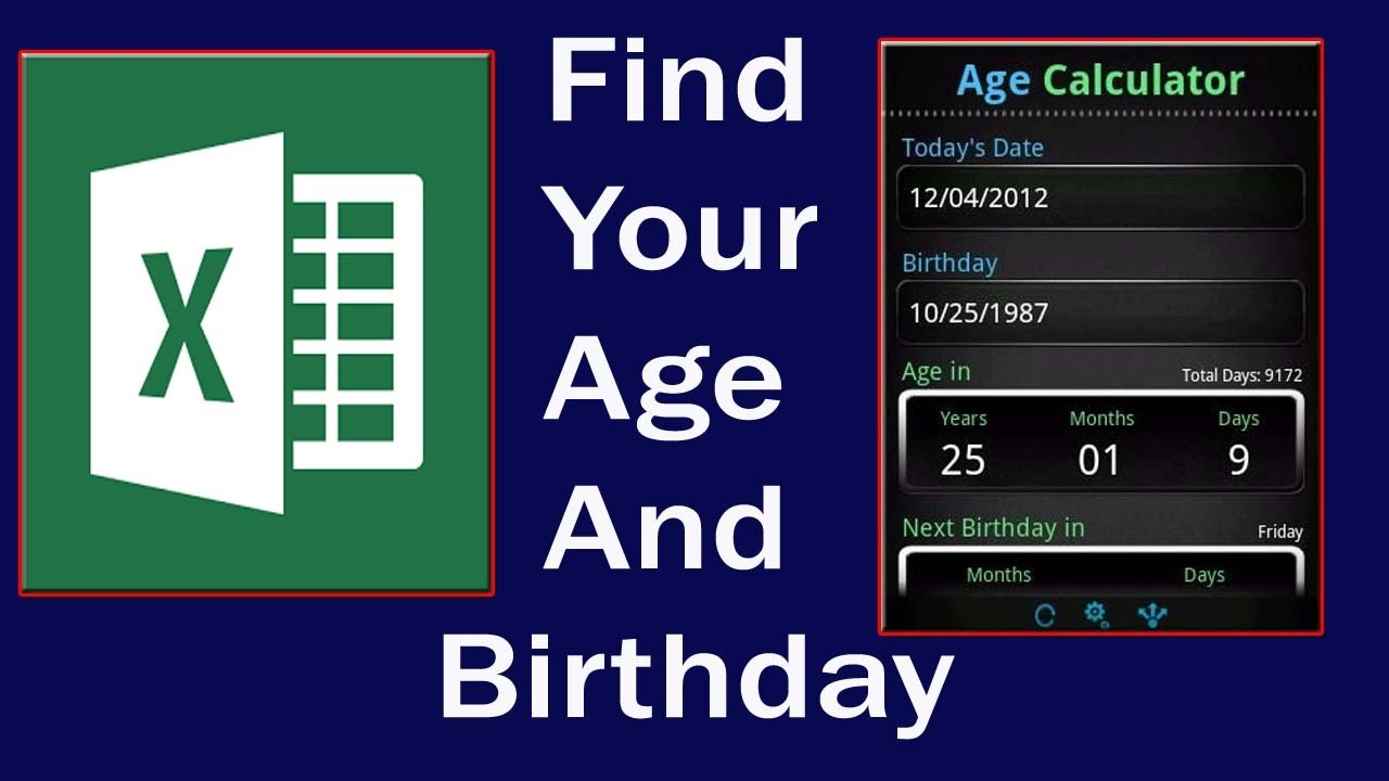 Calculate age from date of birth excel functions and formulas and calculate age from date of birth excel functions and formulas and on android youtube nvjuhfo Image collections
