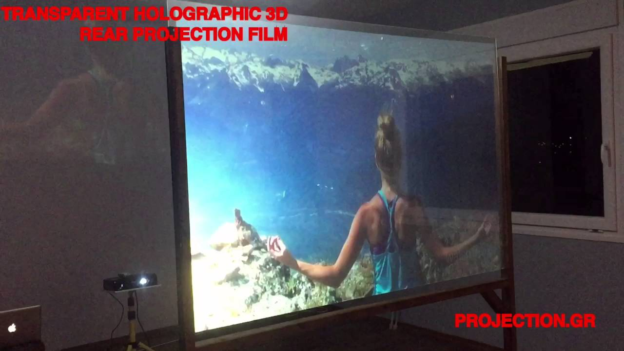 transparent rear projection film demo
