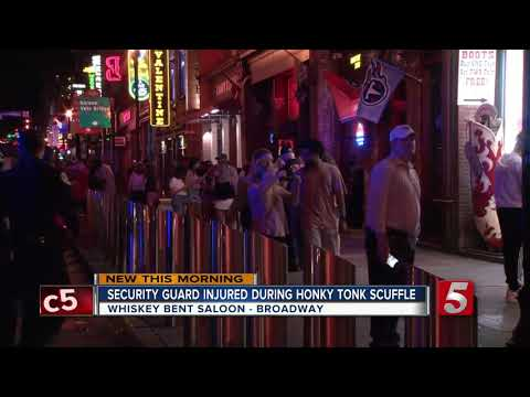 Security guard sprayed with own pepper spray during honky tonk fight