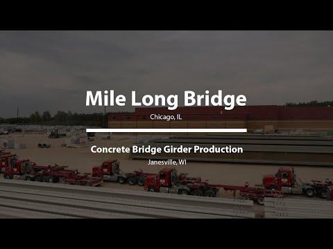 Massive Concrete Girders used for I-294, Mile Long Bridge in Chicago, IL