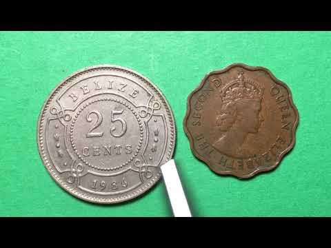 Belize 1986 25 Cents - British Honduras 1959 1 Cent   Same Country = New Name!
