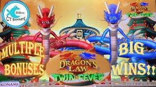 Dragon's Law Twin Fever Slot Machine - BIG WINS!! Multiple Bonuses and Line Hits!