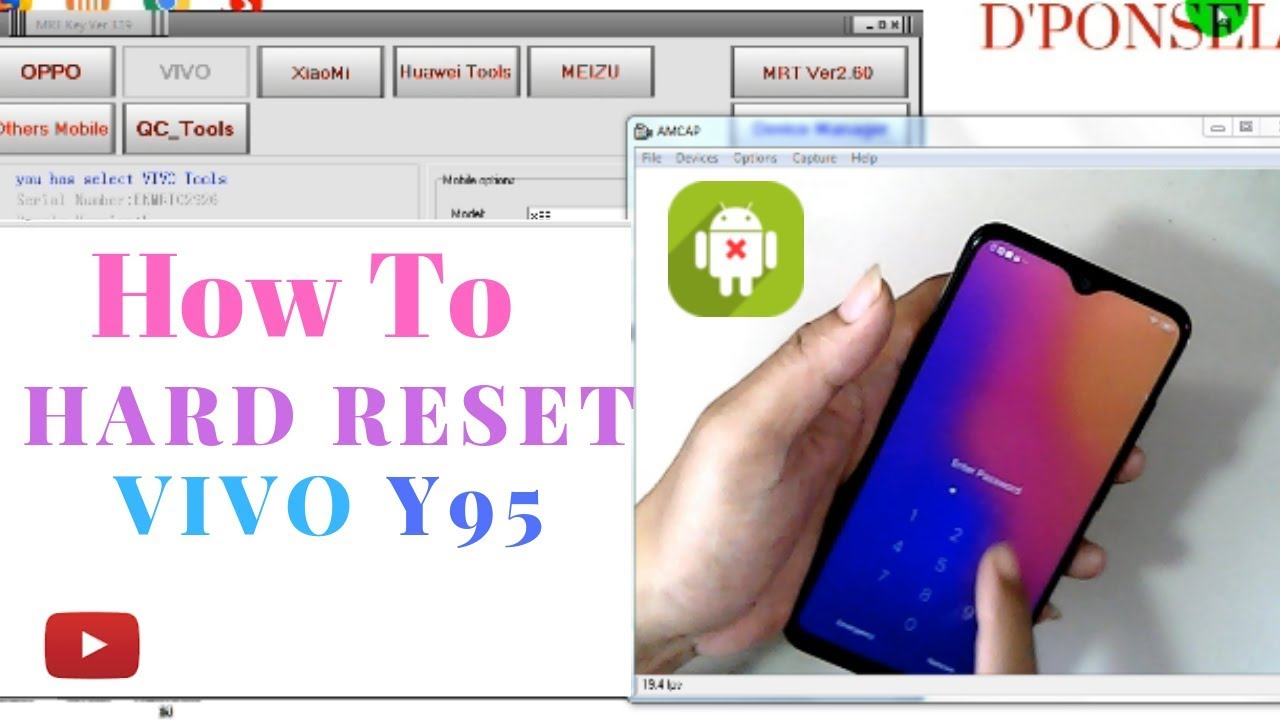 Remove pin lock || Unlock FRP VIVO Y95 One Click via MRT Dongle