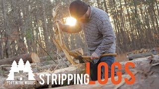 DIY How to Strip Bark Off Logs for a FORT | Fort In The Woods | FITW