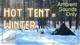 HOT TENT camping iฑ the mountains - Solo winter overnight in the Waiparous Valley (silent video)