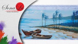 Barcos e Praia em Tecido por Sonalupinturas