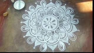 Alpona Designs Bengali/easy rangoli for begineers/rangoli designs with dots/beautiful alpona designs