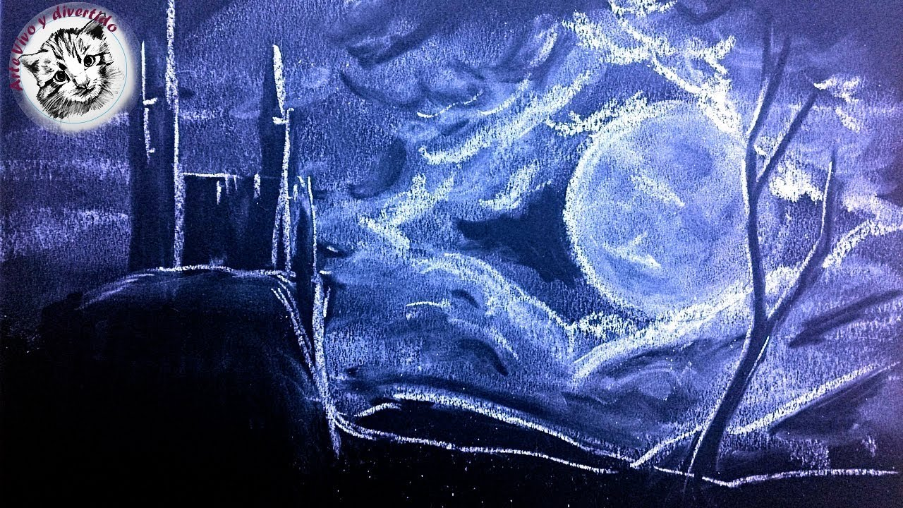 Como Dibujar con Tiza un Castillo de Noche | Dibujos en Cartulina ...