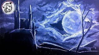 Como Dibujar con Tiza: Noche en el Castillo. Paso a Paso, Full Time Video