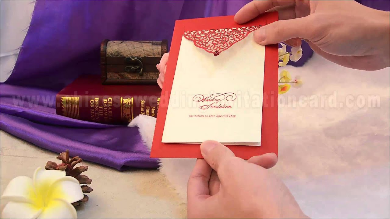 Novel style unique design red wedding invitation card - YouTube