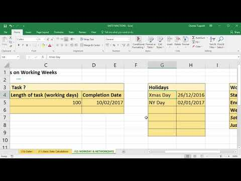 Calculate date after number of working days in excel