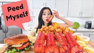 Fried LOBSTER TAILS MUKBANG   Eating Show
