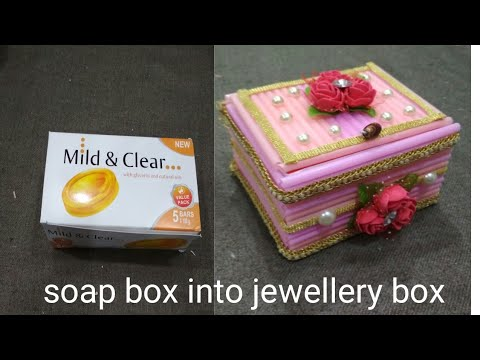 Jewellery box making at  home/with straws & soap box/jewellery box diy Best out of waste soap box