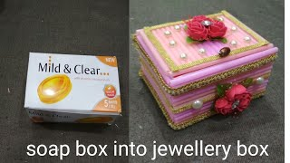 Jewellery box making at  home/with straws & soap box/jewellery box diy|Best out of waste soap box