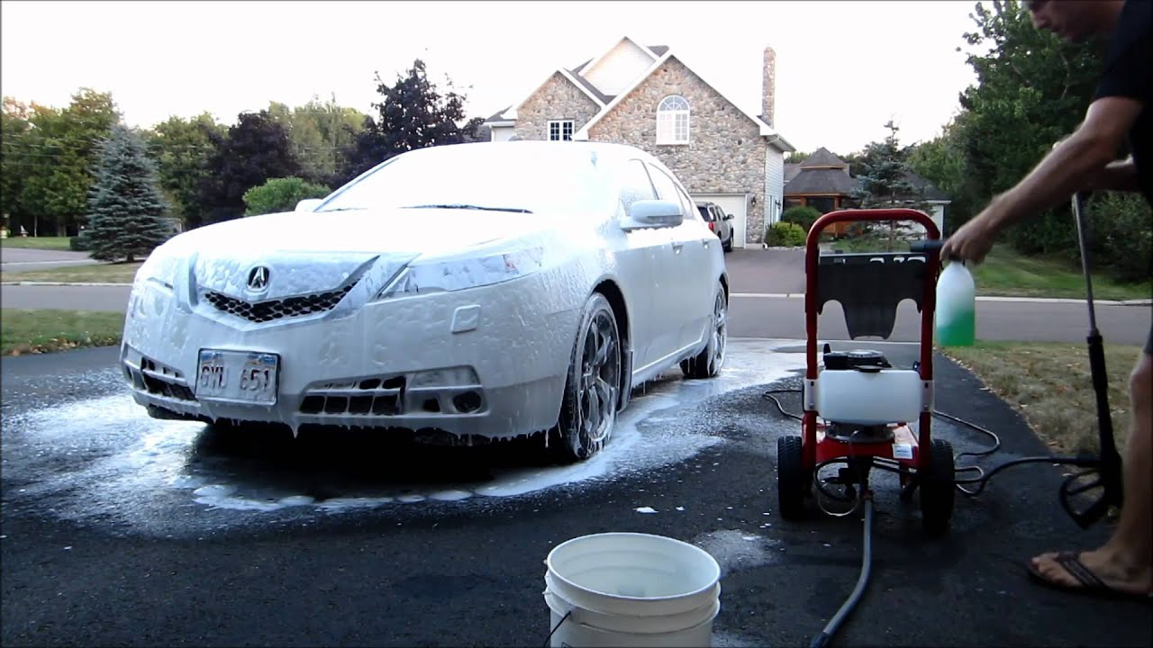 8 minute car wash with foam cannon lance