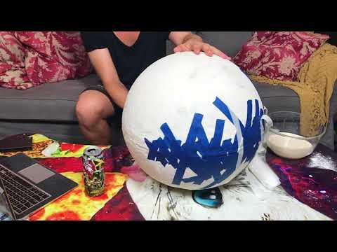 DIY paper mache moon lamp