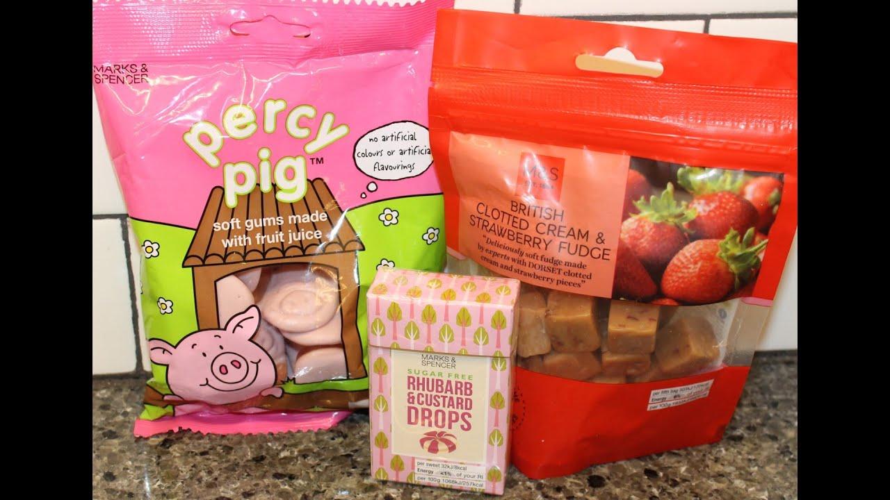 Items From Ireland: M&S: Percy Pig, British Clotted Cream & Strawberry Fudge and Rhubarb & Custard