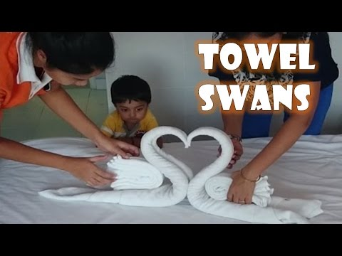 Papercraft How to make Towel art | Towel Origami Swans | Towel Folding | Towel Animals