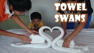 How to make Towel art | Towel Origami Swans | Towel Folding | Diwali Decoration Ideas