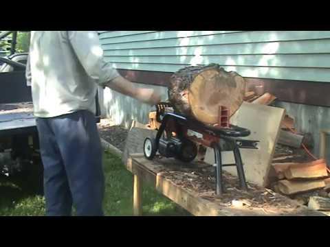 Boss electric wood splitter splits big cherry logs like butter
