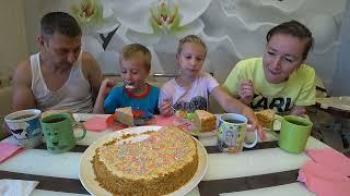 МУКБАНГ ДОМАШНИЙ ТОРТ НА 1 СЕНТЯБРЯ MUKBANG HOMEMADE CAKE FOR SEPTEMBER 1