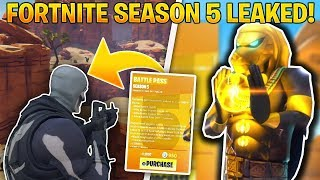 FORTNITE SEASON 5 LEAKED - BATTLE PASS, SKINS, THEME, NEW MAP LEAKED (Fortnite Season 5 Battle Pass)