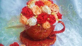 Taza con flores hecha de papel. DIY. Cup with flowers made of paper