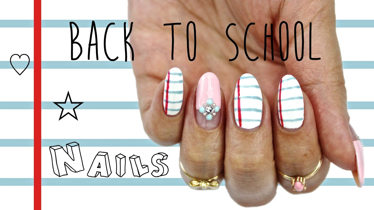 Back To School Nails Notebook Paper Glam