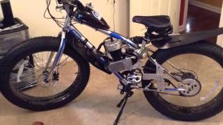 Motorized 80cc fat boy mountain bike.