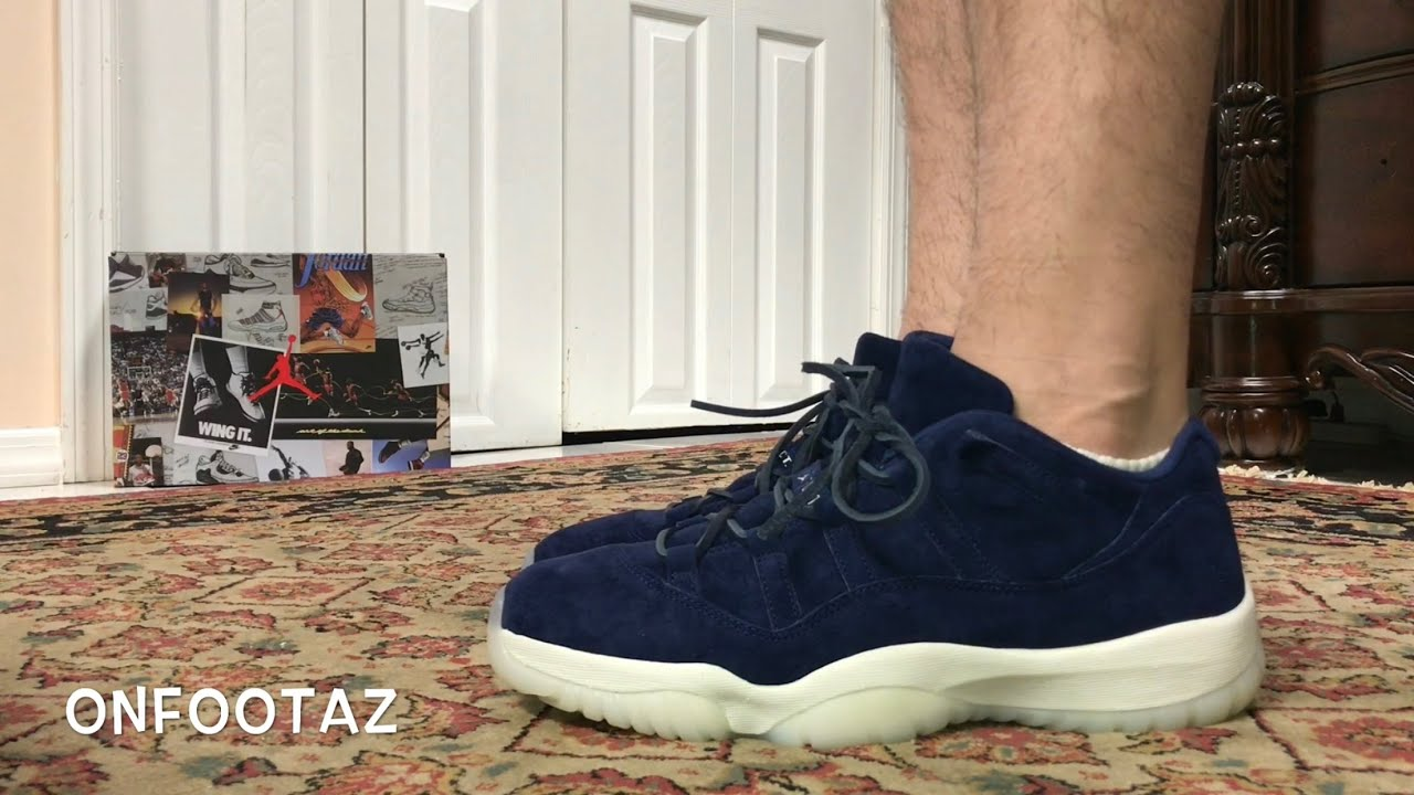 ae2b92e0796c Air Jordan 11 XI Low Derek Jeter RE2PECT Binary Blue On Foot - YouTube