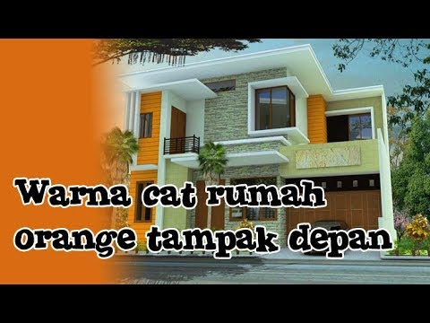 Kombinasi Warna Cat Rumah Orange Tampak Depan Minimalis Cantik