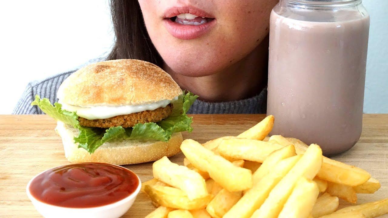 Asmr Vegan Chicken Burger Fries Collab With Songbyrd Asmr Asmr Miss Nature